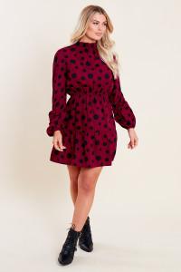 Wine Black Spot Balloon Sleeve Ruffle Neck Skater Dress
