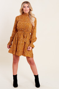 Mustard Spot Shirred High Neck and Cuff Ruffle Hem Belted Mini Dress