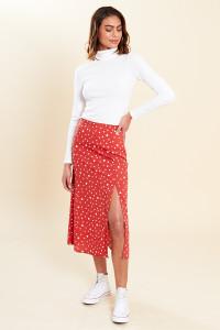 Rust White Polka Dot Midi Skirt with Front Splits