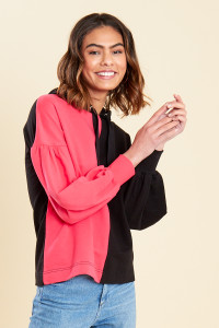 Pink Black Colour Block Balloon Sleeve Hooded Sweat Top