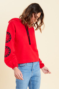 Red Printed Sleeve Hooded Sweat Top