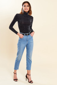 Black High Neck Glitter Long Sleeve Top