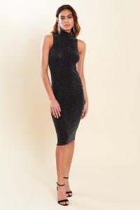 Black High Neck Sleeveless Glitter Bodycon Midi Dress