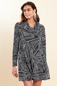 Black Silver Cowl Neck Long Sleeve Mini Skater Dress