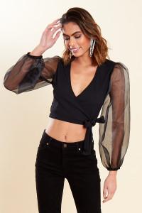 Black Ribbed Organza Sleeve Tie Wrap Crop Top