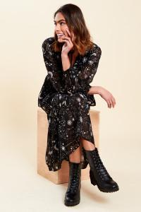 Black Galaxy Print Tie Neck Midaxi Dress