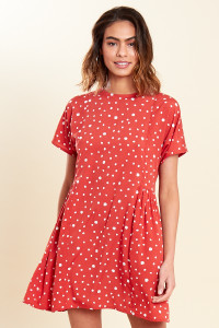 Rust Polka Dot Mini Smock Dress