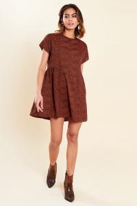Brown Animal Print Mini Smock Dress