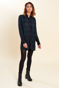 Navy Green Check Oversized Long Sleeve Shirt Dress