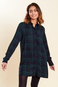Navy Green Check Oversized Long Sleeve Shirt Dress