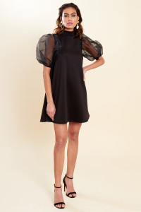 Black High Neck Swing Dress with Organza Sleeves