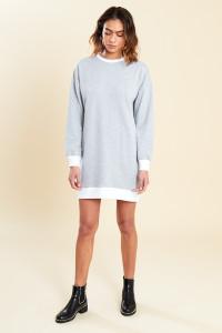 Grey Contrast Mini Sweater Dress