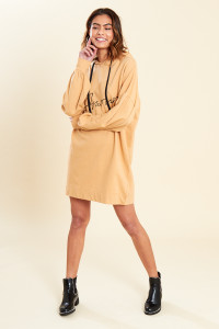 Stone Balloon Sleeve Hooded Sweat Dress with Slogan Front