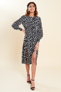 Black White Dalmatian Print Shirred Waist Split Skirt Midi Dress