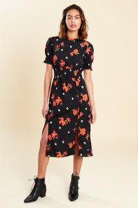 Black Red Floral Print Shirred Waist and Cuff Split Front Midi Dress