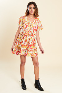 Multi Floral Print Mock Horn Button Front Mini Smock Dress