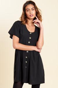 Black Mock Horn Button Front Mini Smock Dress