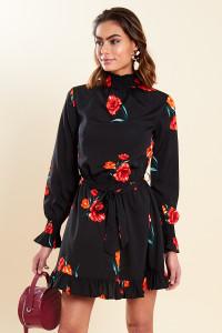 Black Floral Shirred High Neck and Cuff Ruffle Hem Belted Mini Dress