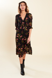 Black Floral Print Ruffle Cuff Wrap Front Tiered Midaxi Dress