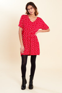 Red Daisy Print Jersey Mini Smock Dress