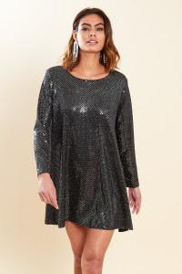 Black Sequin Glitter Long Sleeve Mini Skater Dress
