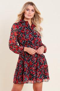 Black Poppy Printed Georgette Tiered Skater Midi Dress