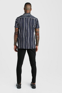 Black Stripe Short Sleeve Revere Collar Chain Print Shirt