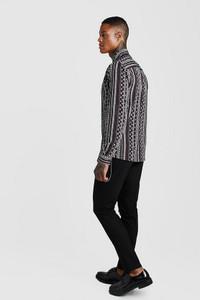Charcoal Stripe Print Long Sleeve Dobby Shirt