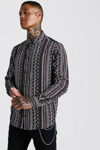 Charcoal Stripe Print Long Sleeve Dobby Shirt