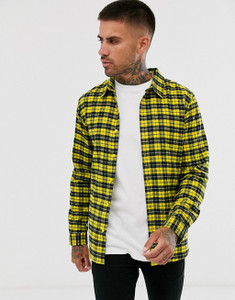 Yellow Regular Fit Long Sleeve Flannel Check Shirt