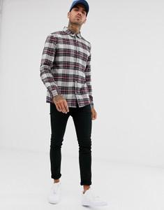 Grey Regular Fit Long Sleeve Tartan Flannel Check Shirt