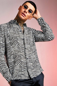 Grey Black Viscose Long Sleeve Zebra Print Shirt