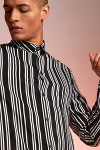 Black Monochrome Stripe Long Sleeve Shirt