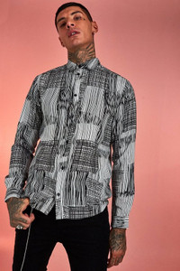 Black White Abstract Patchwork Long Sleeve Shirt