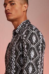Black Long Sleeve Stripe Aztec Print Shirt