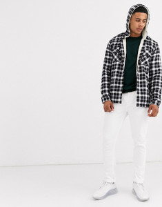 Black White Borg Lined Check Over Jacket