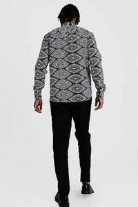 Black Ikat Design Long Sleeve Printed Shirt