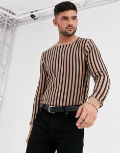 Brown Vertical Stripe Muscle Fit Crew Neck Jumper