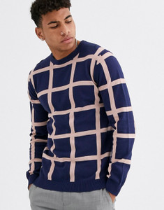 Navy Grid Check Muscle Fit Crew Neck Jumper