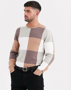 Brown Large Check Muscle Fit Crew Neck Jumper