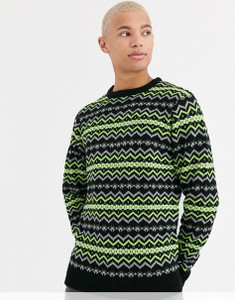 Black Neon Green Fairisle Knitted Jumper