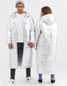 Silver Unisex Metallic Hooded Longline Puffer Jacket