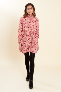 Pink Red Floral Print High Ruffle Neck Belted Mini Wrap Dress
