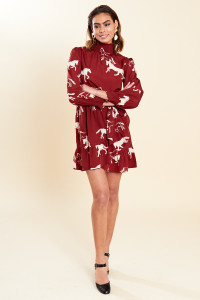 Rust Horse Print High Ruffle Neck Belted Mini Wrap Dress