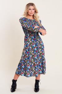 Multi Floral Print Shirred Bodice Tiered Midi Dress