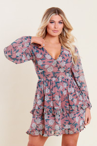 Pink Floral Georgette Long Sleeve Skater Dress with Ruffle Detail