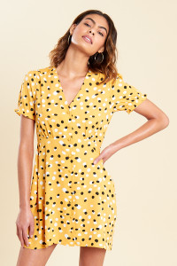 Mustard Polka Dot Button Down Skater Tea Dress
