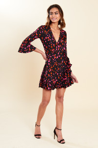 Black Heart Print Flared Sleeve Ruffle Hem Wrap Mini Dress