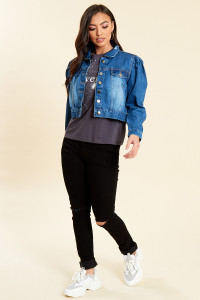 Blue Cropped Puff Sleeve Denim Jacket