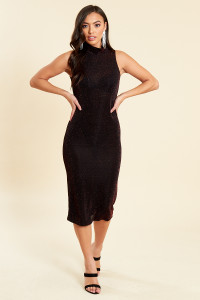 Wine High Neck Sleeveless Glitter Bodycon Midi Dress